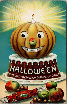 Halloween JOL on Cake Candle Valentine & Sons c1911 Postcard E78 *as is