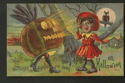 Vintage Black Americana Halloween Postcard