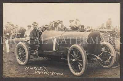 RPPC Tacoma WA 1914 Race Car & Driver Bert Dingley Fin. 4th Never to Race Again