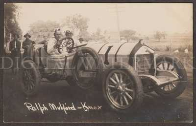 RPPC 1912 Knox Race Car Driver Ralph Mulford & Billy Chandler Milwaukee WI