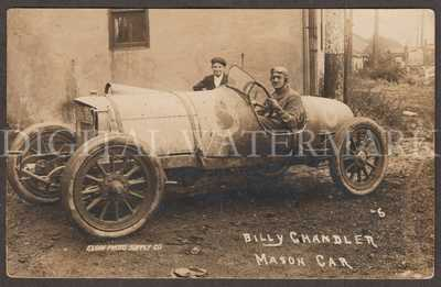 RPPC Elgin, IL 1913 Mason Race Car Rare Billy Chandler as Driver & Friend