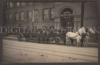 RPPC Indian Motorcycle Factory w/ Fire Department