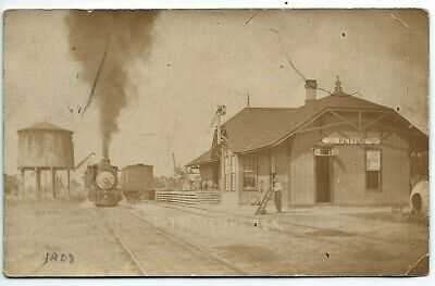 Pettus Texas Railroad Depot Train station RPPC real photo postcard 1908