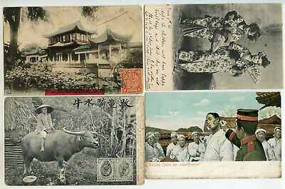 China 1904-12 Four interesting postcards to UK 2 with 4c from Tientsin+ Shanghai