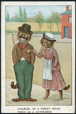 Louis Wain cats postcard, cat as Charlie Chaplin; Hackney Scouts message, Devon