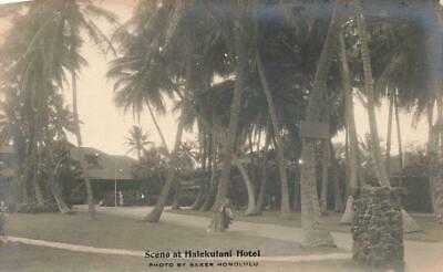 HAWAII 1930s RPPC by RAY JEROME BAKER Scene at HALEKULANI HOTEL H.T.