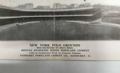 1911 PANORAMIC Baseball New York Giants Polo Grounds Double Fold Postcard Nice