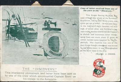 Captain Scott Antarctic Discovery Singer Sewing Machines Advertising Postcard