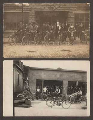 2pcs RPPC 19Teens Motorcycle Groups at Garages FAM Mobiloils Good & Fine Cond.