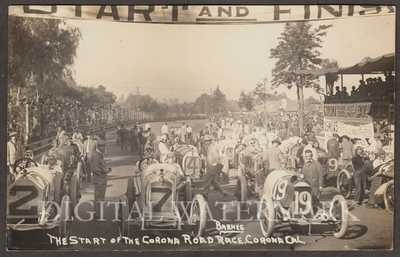RPPC Start of 1914 Corona Ca. Auto Road Race Noted Drivers Shown Fine Cond.