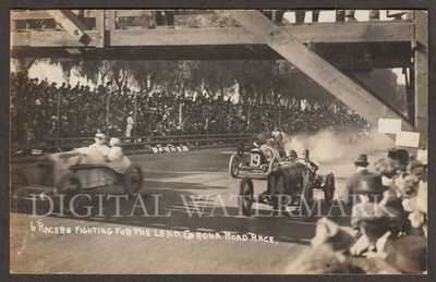 RPPC 1914 Corona Ca. Auto Road Race in Action Noted Drivers Shown Fine Cond.