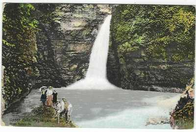 Philippines 1909 card Upper Falls Pagsanjan card used to Switzerland