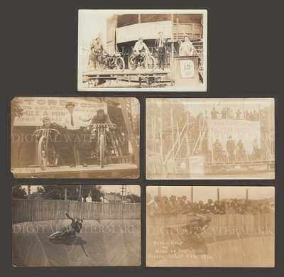 RPPC 5pcs Extremely Rare Wall of Death Motorcycle Daredevil Images Mixed Cond.