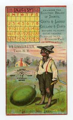 TRADE CARD MAILED AS PIONEER POSTCARD 1885 BLACK AMERICANA ELECTRIC BRAND SHIRTS