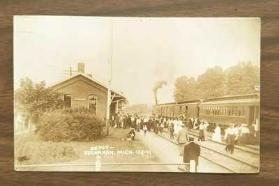 Photo Postcard Train Depot Buchanan Michigan MI