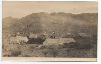 Rare 1907 RPPC Postcard showing view of New Town of Rawhide Nevada with Tents