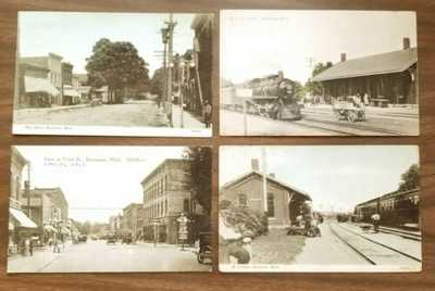 4 Postcard Train Depot Buchanan Michigan MI Main Street & Front Street
