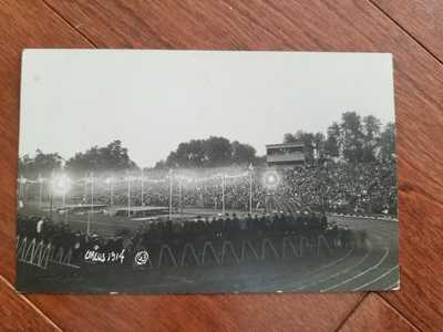 1914 University of Illinois Circus Football Field Real Photo Postcard RPPC