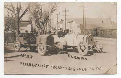 1911 RPPC Postcard Mers & Fleming Race Cars Panama Paciifc Road Race San Leandro