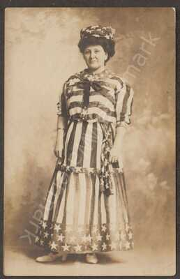 RPPC 1911 Middletown NY Woman in Studio Flag Patriotic Fine to V Fine Cond