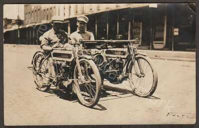 RPPC Two C1910 Excelsior Motorcycles Combined into Car :) Savanna Ga. Good Cond