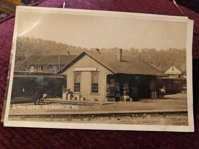 1909 Friendsville MD B&O Railroad Depot Real Photo Postcard Maryland RR RPPC