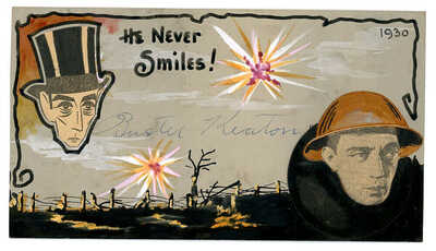 BUSTER KEATON SIGNED VINTAGE 1930 BREHM HAND PAINTED ART POSTCARD AUTOGRAPHED