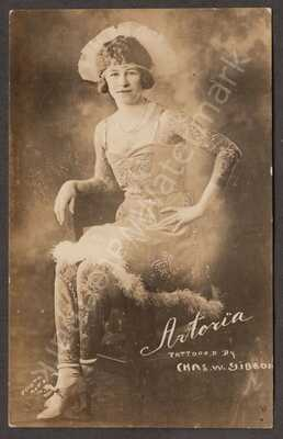 Promotional Photo Card c1920s The Tattooed Lady Artoria Gibbons Good Cond