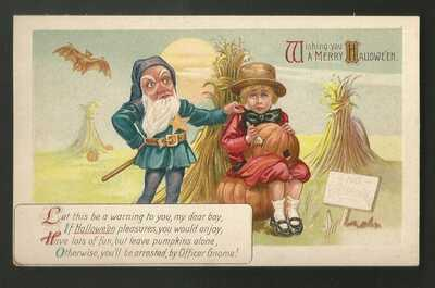 Vintage Embossed Gnome Halloween Postcard