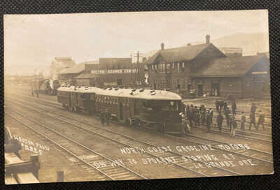 RPPC Trains Vintage McKeen Motor Car Wasson Photo 2225 La Grande Oregon Railway