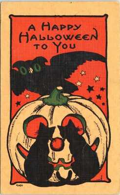 Happy Halloween To You JOL Black Cats Owl Pumpkin Bergman Postcard G38