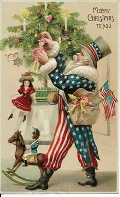 1910 Patriotic Uncle Sam Santa Christmas Postcard