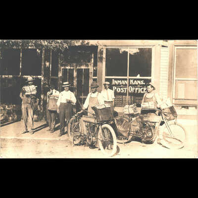 Real Photo RPPC Inman Kansas USPS Mail Carriers on Harley Davidson Motorcycles