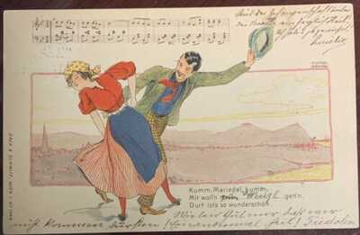 Vintage Rare Raphael Kirchner Signed Man Woman Couple Song Dancing Postcard