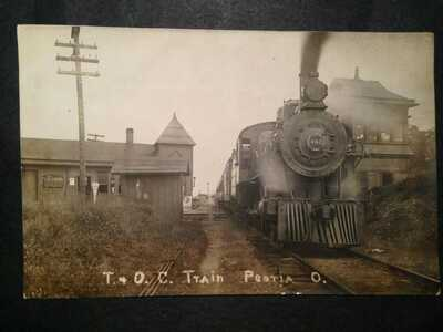 T & O.C. Railroad Train Depot PEOTIA OH Ohio RPPC Real Photo Postcard (367D)