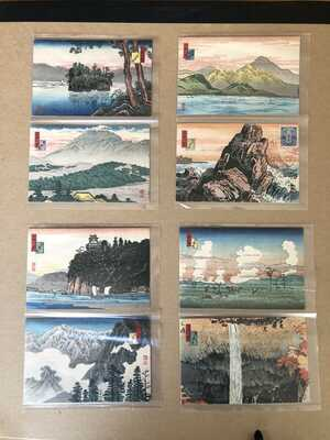 Rare Takahashi Shotei Set Of 8 Post Cards 1920's Pristine Condition