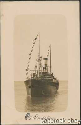1915 S.S. Gullfoss Icelandic Ship Real Photo Postcard