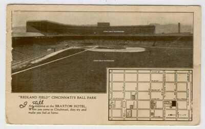 Old Postcard Redland Field Cincinnati Ohio Reds Baseball Park Stadium