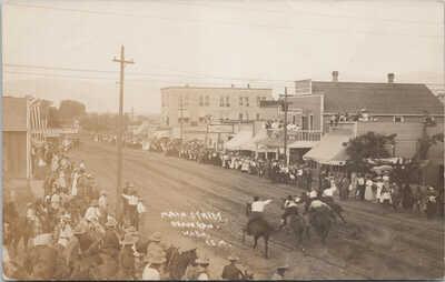 Okanogan WA Main Street Horse Racing Races Unused Real Photo Postcard G93
