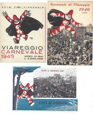 Italy Carnevale Viareggio Carnival Art 1940s Vintage Lot 3 Postcards (1 fold)