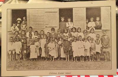 """Children, EASTER ISLAND Post Card, by Captain Benson of """"Eldorado"""" Shipwreck"""