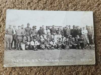 1918 Grover Alexander ? Baseball Real Photo Postcard RPPC Camp Funston Kansas