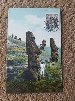 c 1917 Valparaiso Chile Postmarked Mailed Postcard Easter Island