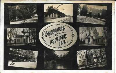 Kane, Illinois, IL Multiveiw RPPC Ca. 1910 Near Carrollton, Depot, Churches, Etc