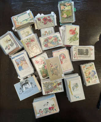 Over 600 Antique Early 1900's Post Cards & Card, Various Themes Most in Sleeves