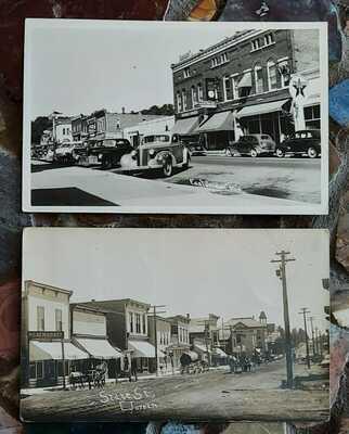 2 RPPC Real Photo Postcard 1909 State Street Scene - East Jordan Michigan