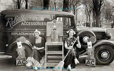 C.1935 Holland & Muskegon MI RPPC: Mobile Spark Plug Cleaner Truck, Maids, Signs