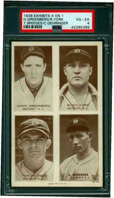 Rare 1938 Postcard Like Baseball 4 ON 1  Exhibit Card Detroit Tigers H Greenburg