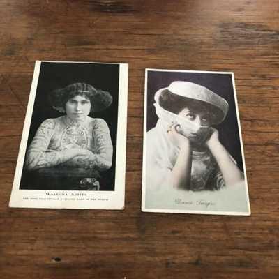 Vintage Postcard  X2  Dame Turque  & Walton's  Aritta Tattooed Lady