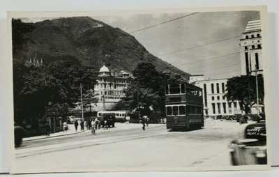 Hong Kong Queens Road Tram Bus Rickshaw c1951 Photo Postcard L8
